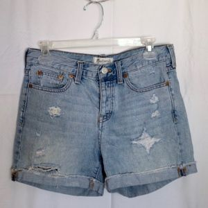 Madewell Distressed Denim High Rise Shorts
